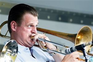 "Jeff Bush, lead trombonist for the Pittsburgh Jazz Orchestra, plays Billy Strayhorn's ""Lush Life"" as the band performs Sunday in Highland Park for the Reservoir of Jazz series event."