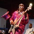 Funk bassist Bootsy Collins drops his tophat while performing with his Rubber Band Sunday night at Hartwood Acres.