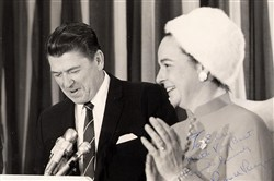 Elsie Hillman stands with Ronald Reagan at an Allegheny County Republican event.