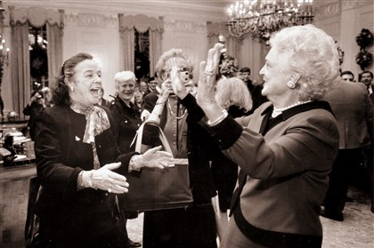 Barbara Bush, right, once described Elsie Hillman as ''a cross between Teddy Roosevelt and Auntie Mame.""