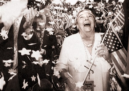 Elsie Hillman enjoys the closing jubilation at what was her last GOP convention as a committee woman in 1996.