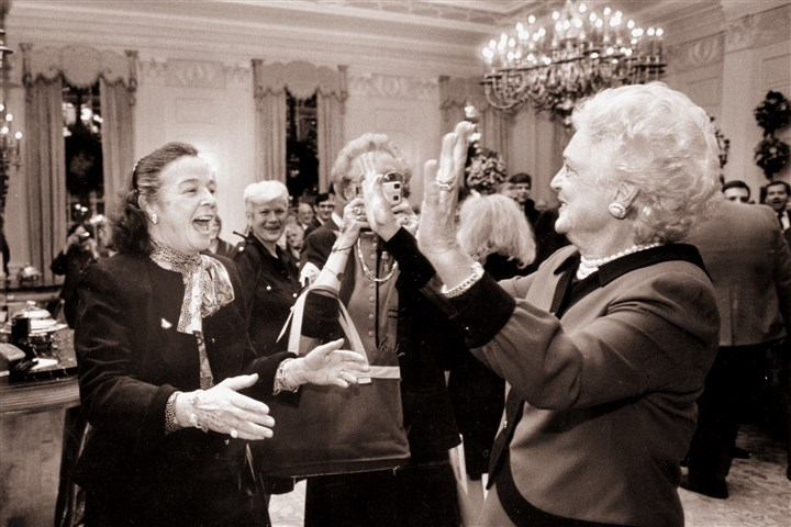 93r00kga-21 Barbara Bush, right, once described Elsie Hillman as ''a cross between Teddy Roosevelt and Auntie Mame.""
