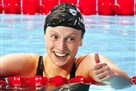 Katie Ledecky of the United States celebrates after winning the women's 200-meter freestyle final Wednesday at the world championships in Kazan, Russia