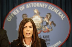 Pennsylvania Attorney General Kathleen Kane is alleged to have leaked grand-jury material to discredit a foe: one-time state prosecutor Frank Fina, who she supposedly blamed for media accounts suggesting she'd shut down an investigation of fellow Democrats.