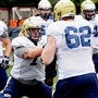 Pitt offensive lineman Alex Paulina (74) and John Guy (62) during practice drills Wednesday.