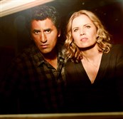 "Cliff Curtis as Travis, and Kim Dickens as Madison in ""Fear the Walking  Dead."""