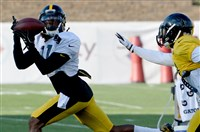 Steelers WR Markus Wheaton pulls in a pass as he's defended by Gerod Holliman at training camp earlier this month at Saint Vincent College in Latrobe. Wheaton figures to be a solid sleeper pick in many fantasy football drafts.