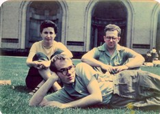 Photograph by Leonard Kessler of Andy Warhol, Dorothy Cantor and Philip Pearlstein on Carnegie Institute of Technology campus, ca. 1948.