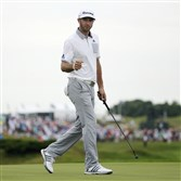 Dustin Johnson is in a familiar position as the early round leader in a major after a 66 Thursday in the PGA Championship at Whistling Straits.