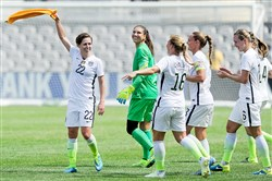 Pine-Richland alum Meghan Klingenberg, left, celebrates a goal during the U.S. women's national team's visit to Pittsburgh in 2015.