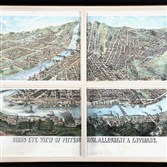"James T. Palmatary, 1859 tinted lithograph, ""Bird's Eye View of Pittsburgh, Allegheny & Environs."""