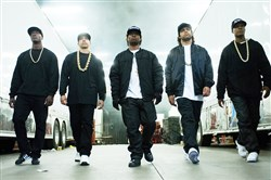"From left, Aldis Hodge as MC Ren, Neil Brown, Jr. as DJ Yella, Jason Mitchell as Eazy-E, O'Shea Jackson, Jr. as Ice Cube and Corey Hawkins as Dr. Dre, in the film, ""Straight Outta Compton."""