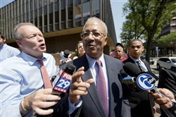 U.S. Rep. Chaka Fattah speaks outside the federal courthouse today in Philadelphia