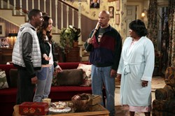 """The Carmichael Show"" cast, from left, Jerrod Carmichael as Jerrod, Amber West as Maxine, David Alan Grier as Joe Carmichael and Loretta Devine as Cynthia Carmichael."