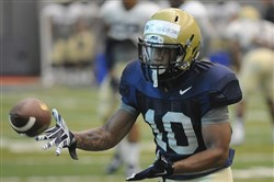 Pitt's freshman receiver Quadree Henderson catches a pass during practice at Pitt's South Side practice facility today.