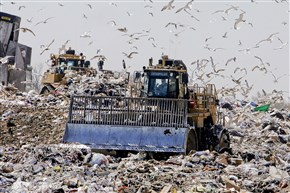 Bulldozers at work at a Bucks County landfill.