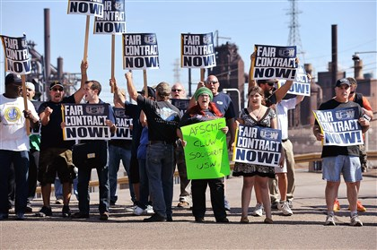 United Steelworkers Local 1219 held a rally Aug. 21, calling for fair contracts and in solidarity of locked-out steelworkers, outside U.S Steel's Edgar Thomson Works in Braddock.