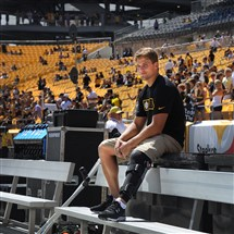 Former Steelers place kicker Shaun Suisham uses crutches as he moves along the sideline before the preseaon game against the Green Bay Packers last summer. Suisham was injured in the first preseason game and had surgery on his knee.
