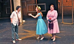 "In Florence, Fabrizio (Joshua Grosso) meets American Clara (Lindsay Bayer) and her mother Margaret (Becki Toth) in Front Porch Theatricals' ""The Light in the Piazza"" at the New Hazlett Theater."