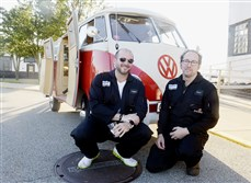 Jonathan Plesset, left, and Brad Childs, co-founders of Pittsburgh Aviation Animal Rescue Team, with a vintage 1965 VW van at the Dog Days of Summer to benefit Pittsburgh Aviation Animal Rescue Team.