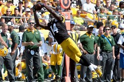 Steelers' WR Sammie Coates pulls in a pass against the Packers in the third quarter Sunday at Heinz Field.