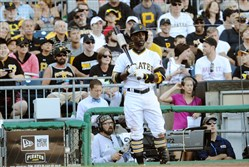 "Andrew McCutchen gets ready to bat yesterday. (Care for a few bars of St. Hildegard of Bingen's ""O rubor sanguinis,"" Cutch?)"
