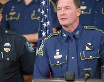 Louisiana State Police Col. Michael Edmonson on Monday announces the death of Trooper Steven Vincent during a news conference at Lake Charles Memorial Hospital.
