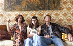"From left, Kristen Wiig as Charlotte Goetze, Bel Powley as Minnie Goetze and Alexander Skarsgard as Monroe in ""The Diary of a Teenage Girl."""