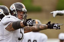 The Steelers' Markice Pouncey, shown here at training camp last season, suffered a broken leg in a preseason game and missed the 2015 season.