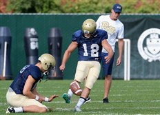 Pitt kicker Chris Blewitt practices during training camp Monday at the team's facility on the South Side.