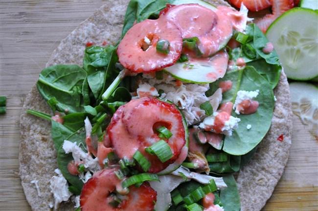 Strawberry-Chicken Spinach Wraps.