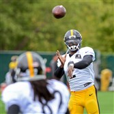 Steelers quarterback Michael Vick throws a pass to wide receiver Kenzel Doe during practice on the South Side Wednesday.