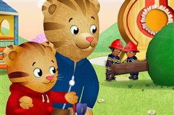 "Daniel Tiger ""looks for the helpers"" following a thunderstorm that knocks over a tree on ""Daniel Tiger's Neighborhood."""