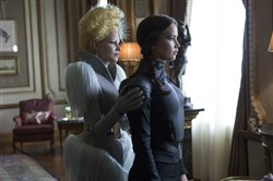 "Elizabeth Banks, left, portrays Effie Trinket and Jennifer Lawrence is Katniss Everdeen in ""The Hunger Games Mockingjay -- Part 2."""