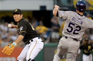 Pirates shortstop Jung Ho Kang gets the Rockies' Chris Rusin out at second base in the third inning.