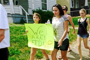 Marchers in Washington, Pa., protest the recent spike in heroin overdoses in Washington County.