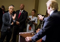 Republican presidential candidate Donald Trump spars with Univision reporter Jorge Ramos in Dubuque, Iowa, Aug. 25.