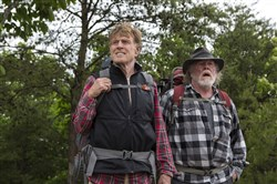 "Robert Redford, left, stars as Bill Bryson and Nick Nolte as Stephen Katz in the lightweight comedy ""Walk in the Woods."""