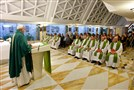 Pope Francis celebrates a Mass at the Vatican's Santa Marta hotel, on Tuesday.