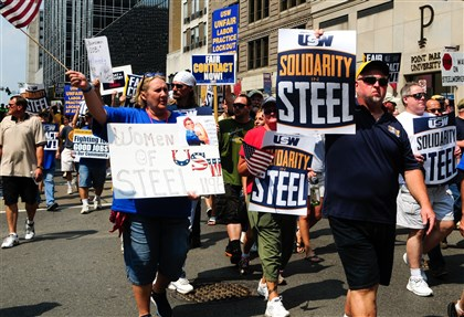 United Steelworkers union members and supporters of organized labor rallied in Pittsburgh and other cities Tuesday.