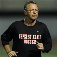 Upper St. Clair soccer coach Uwe Schneider, shown here in a 2013 photo, spent nearly four months last summer using a wheelchair after falling from a ladder.