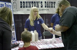 "Visitors try products from Brunton's Dairy last year at the ""What's on Your Plate?"" Healthy Foods and Wellness Expo""  at Robert Morris University."