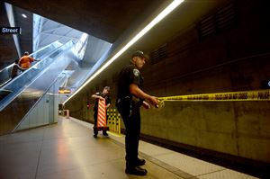 Port Authority Police block off the entrance to the T line at Gateway Station headed toward Heinz Field after an electrical problem caused a train to shut down inside the tunnel on Wednesday.