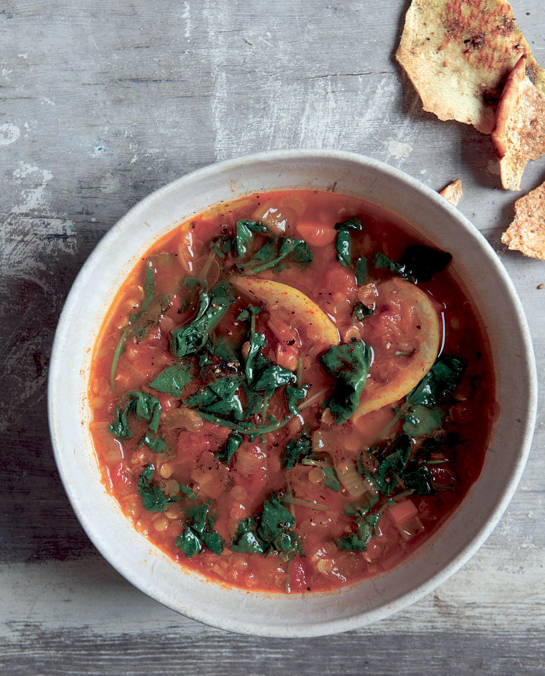 """RoshHashanahLentil-1 Lentil Soup with Carrots, Lemon and Greens; From """"The New Kosher"""" by Kim Kushner."""