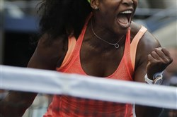 Serena Williams reacts after winning a point against Kiki Bertens Wednesday.