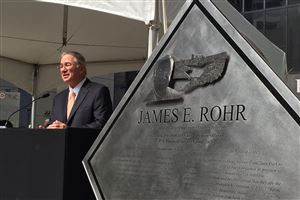 "As a salute to retired PNC executive James E. Rohr, city and county officials dedicated a section of Wood Street, near Oliver Way, as ""Jim Rohr Way"" Downtown. The ceremony also included the unveiling of a plaque to Mr. Rohr that will be mounted in PNC Plaza, Downtown."
