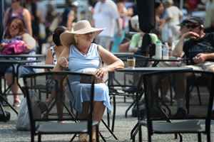"Helen Rump of Beechview waits for the Pittsburgh Symphony Orchestra Brass Quintet to perform Thursday during the Market Square Farmers Market. Ms. Rump said she appreciates the orchestra putting on public concerts and described herself as an ""avid fan."""