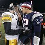 Patriots quarterback Tom Brady, right, and Steelers quarterback Ben Roethlisberger meet again Sunday in Foxborough, Mass.