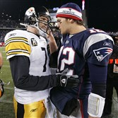 Patriots quarterback Tom Brady, right, was drafted in the sixth round. Steelers QB Ben Roethlisberger was selected in the first.