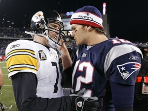 New England Patriots quarterback Tom Brady (12) and Pittsburgh Steelers quarterback Ben Roethlisberger (7) meet again in Foxborough, Mass., on Sunday for the AFC championship and bragging rights.